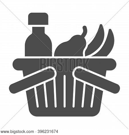 Basket With Bottle And Fruits Solid Icon, Black Friday Concept, Shop Basket Sign On White Background