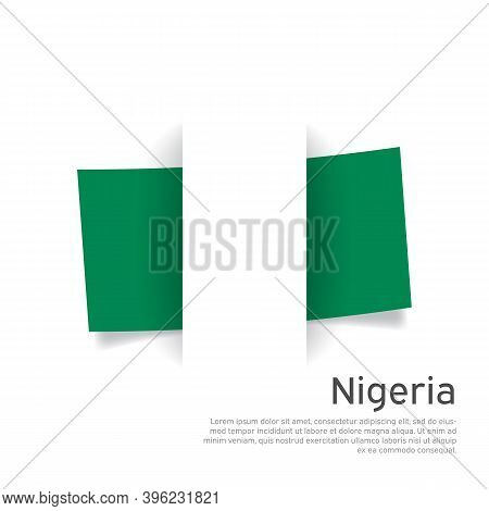 Nigeria Flag In Paper Cut Style. Creative Background For Nigeria Patriotic Holiday Card Design. Nati