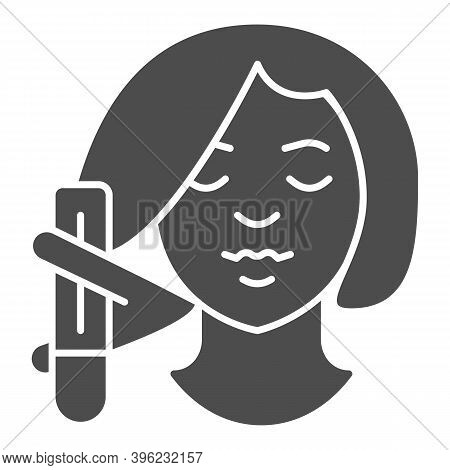 Girl Head With Hair Curler Solid Icon, Makeup Routine Concept, Morning Hair Care Routine Sign On Whi