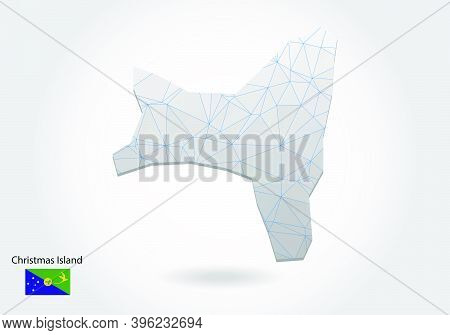 Vector Map Of Christmas Island With Trendy Triangles Design In Polygonal Style On Dark Background, M