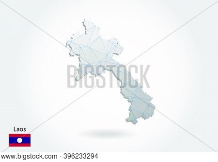Vector Map Of Laos With Trendy Triangles Design In Polygonal Style On Dark Background, Map Shape In