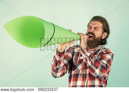 Make Voice Louder. Bearded Man Shout In Megaphone. Man With Paper Loudspeaker. Freedom Of Speech. Ad