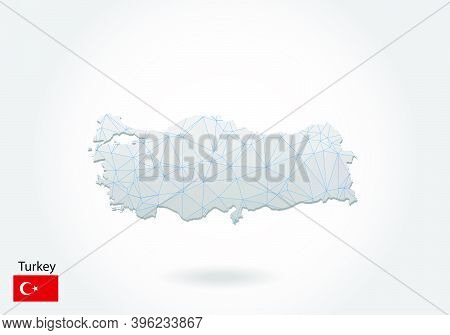 Vector Polygonal Turkey Map. Low Poly Design. Map Made Of Triangles On White Background. Geometric R