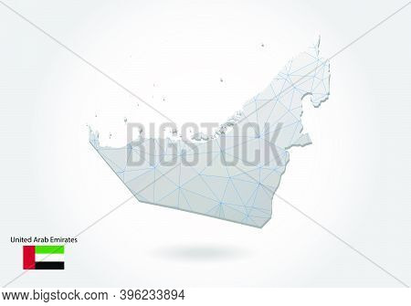 Vector Polygonal United Arab Emirates Map. Low Poly Design. Map Made Of Triangles On White Backgroun