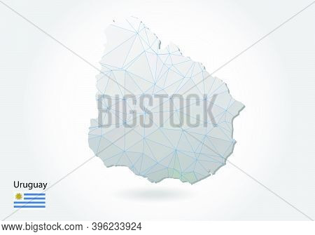 Vector Polygonal Uruguay Map. Low Poly Design. Map Made Of Triangles On White Background. Geometric