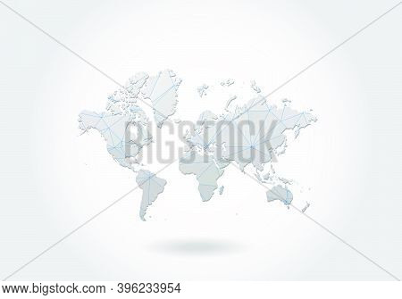 Vector Polygonal World Map. Low Poly Design. Map Made Of Triangles On White Background. Geometric Ru