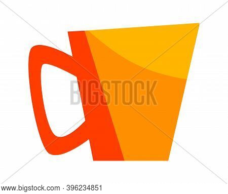Yellow Cup With Coffee Lil Tea, Mug For Hot Drink Cartoon Vector Isolated Icons Illustration