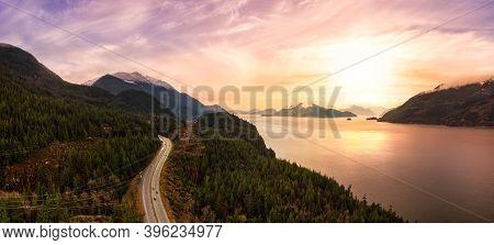 Sea To Sky Hwy In Howe Sound Near Squamish, British Columbia, Canada. Aerial Panoramic View. Dramati