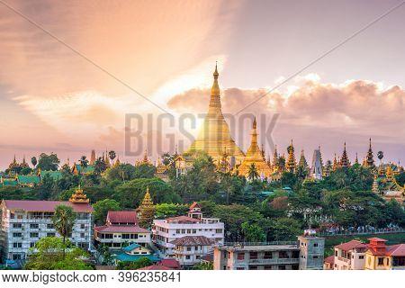 Yangon Skyline With Shwedagon Pagoda In Myanmar