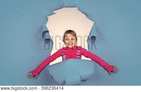 Surprise. Stylish Cute Child Posing In Studio. Childhood Fun And Leisure Concept. Fashion Model Posi