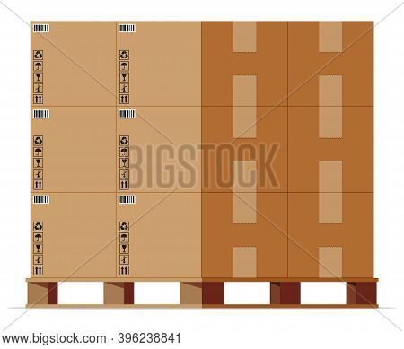 Cardboard Boxes Pile On Wooden Pallet Isolated On White. Carton Delivery Packaging Closed, Sealed, C