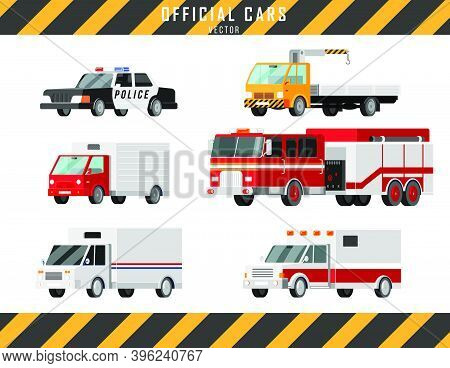 Official Cars Vector Icons Set. Ambulance, Police, Fire Truck, Mail Truck, Tow Truck, Crane, Truck L