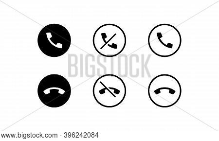 Missed, Decline, Outcoming, Incoming Icon In Black. Vector Eps 10. Isolated On White Background.