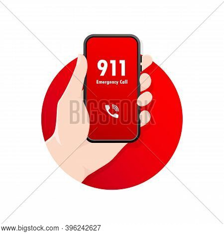 911 Calling In Flat Style. Vector Flat Design. Finger Touch Screen. First Aid. Call Screen Smartphon