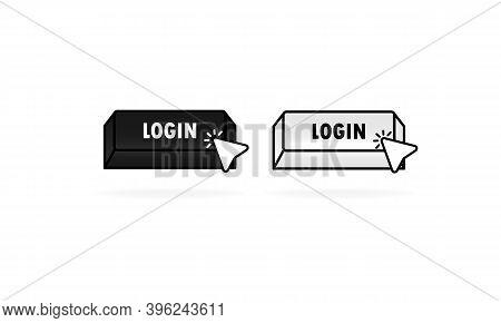 Login Button With Cursor, Pointer. Web Login Icon. Vector Illustration. Eps10