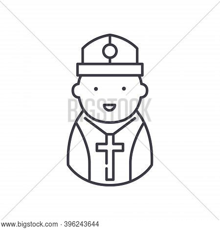 Pastor Icon, Linear Isolated Illustration, Thin Line Vector, Web Design Sign, Outline Concept Symbol