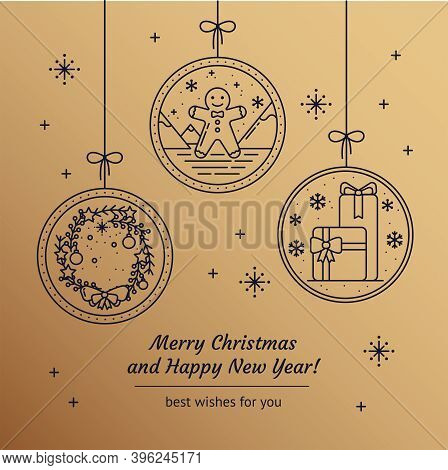 Merry Christmas Greeting Card With Line Art Icons Of Festive Wreath, Gingerbread, Gifts On A Gold Ba
