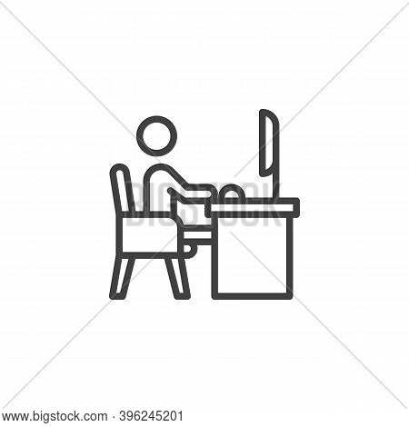 Man Working On Computer Line Icon. Linear Style Sign For Mobile Concept And Web Design. Freelancer S