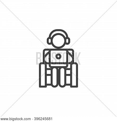 Man Freelancer Working At Home Line Icon. Linear Style Sign For Mobile Concept And Web Design. Man W