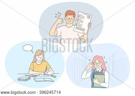 Success In Studying, Excellent School Pupils Concept. Smiling School Boy And Girls Cartoon Character