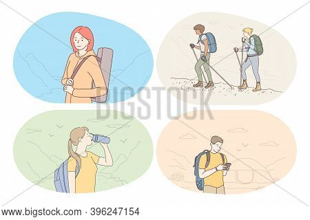 Hiking, Tourism, Trekking On Nature In Mountains Concept. Young People Hikers With Backpacks Travell