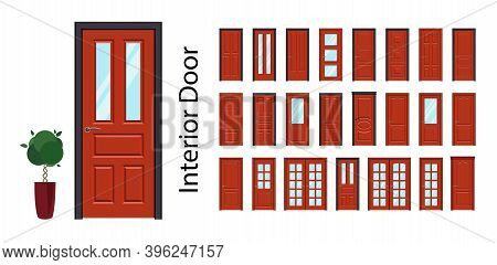 Interior Doors In Red. Big Collection Of Vector Doors. Doors With Or Without Glass.