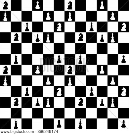 Chess Board Seamless Pattern With Figures. Classic Chess Game.