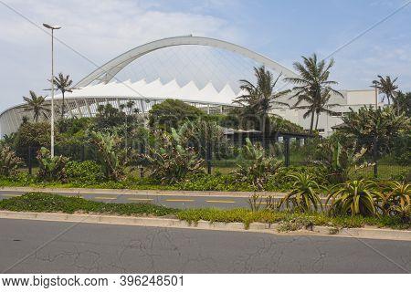 View Of Durban's Moses Mabhida Stadium Surrounded By Vegetation