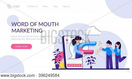 Word Of Mouth Marketing Concept. Customer Oriented Marketing Strategy. Relationship Marketing, Refer