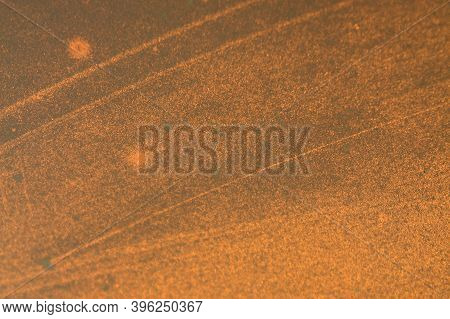 The Glass Is Illuminated By The Sun At Sunset. Abstract Bright Backdrop On Soft Light Background. Bl