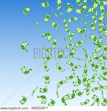 American Dollar Notes Falling. Sparse Usd Bills On Blue Sky Background. Usa Money. Cool Vector Illus