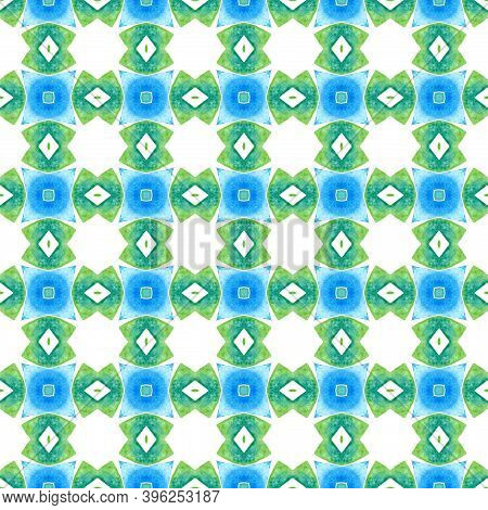 Ikat Repeating  Swimwear Design. Green Dazzling Boho Chic Summer Design. Textile Ready Sightly Print