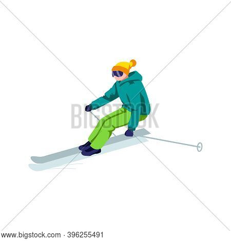 Boy Riding On Skis On Snow Slope. Skier Character In Goggles And Ski Suit Skiing In Mountains. Winte