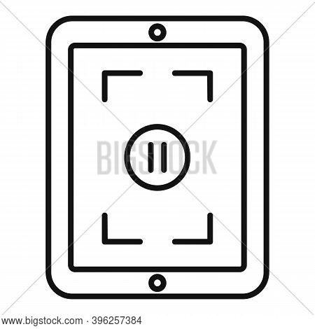 Pause Screen Recording Icon. Outline Pause Screen Recording Vector Icon For Web Design Isolated On W