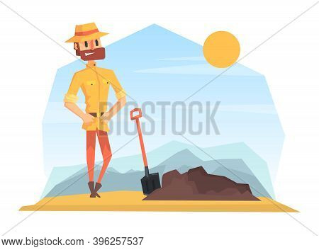 Man Archeologist Digging Soil, Scientist Character Working On Archeological Excavations Cartoon Vect