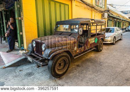 Bangkok, Thailand - December 7, 2019: Vintage Old Timer Willys Je-ep Parked At Street In Bangkok, Th