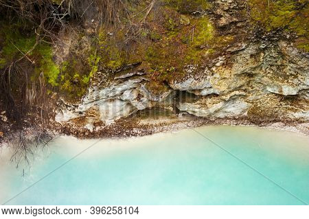 Detail of beautiful glowing blue silica hot spring in Rotorua geothermal are in the New Zealand