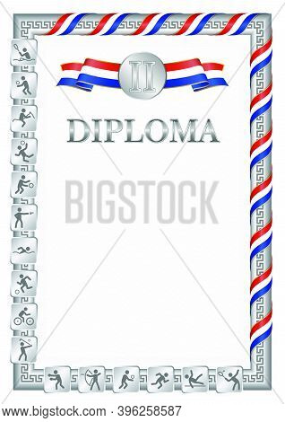 Vertical Diploma For Second Place In A Sports Competition, Silver Color With A Ribbon The Color Of T