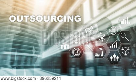 Outsourcing Human Resources. Global Business Industry Concept. Freelance Outsource International Par