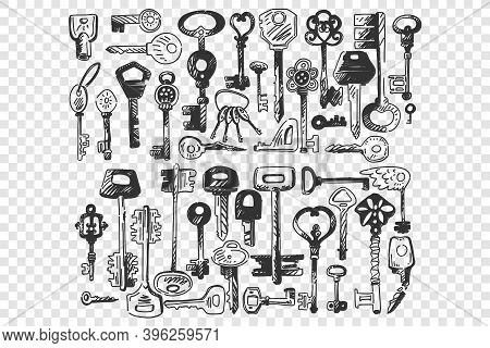 Keys Doodle Set. Collection Of Different Shape Small Key For Opening Door Locks Isolated On Transpar