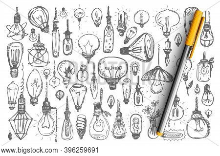 Light Bulbs Doodle Set. Collection Of Fluorescent Halogen Miscellaneous Lamps Enlightment Devices On