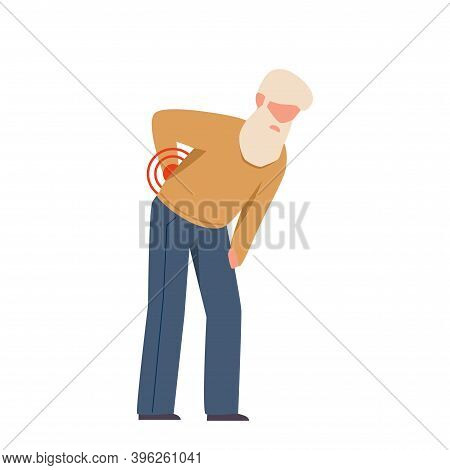 Elderly Man Suffering From Back Pain. Grandfather With White Beard Bending Over And Holding His Back