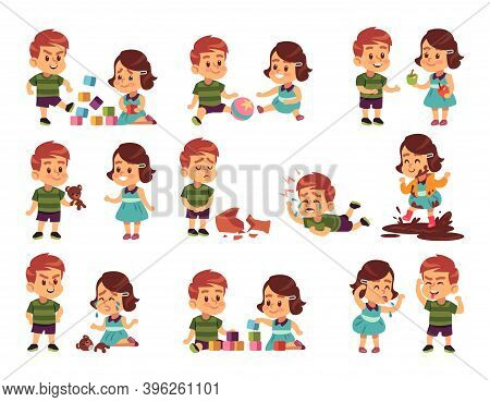 Good And Bad Children. Cartoon Kids Playing Peacefully And Fighting. Little Girl And Boy Communicati