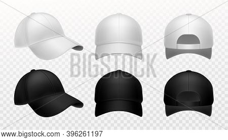 Baseball Cap. Realistic Black And White Hat Mockup, Front Side And Back View Sports Headwear Marketi