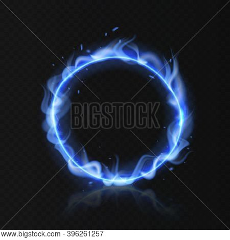 Blue Fire Ring. Realistic Burning Circle. Round Fiery Shape With Hole On Black Background. Magical E