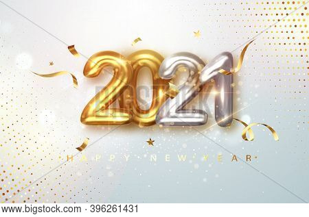 2021 Gold And Silver Realistic Numbers On Light Festive Glitter Background