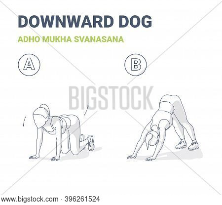 Downward Dog Woman Home Workout Exercise Guide Outline Concept