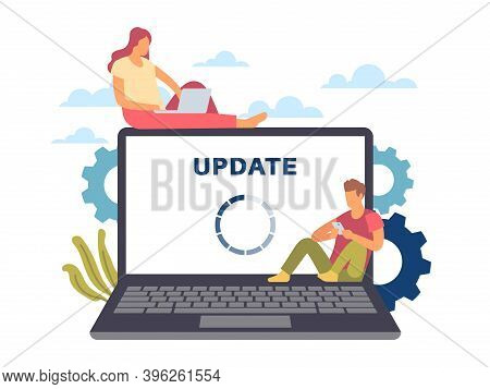 System Update. Maintenance Process Concept. Cartoon Man And Woman With Devices. Loading Circle On La