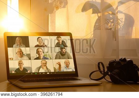 Webcam Laptop Screen View Many Faces Of Diverse People Involved In Group Videoconference On-line Mee