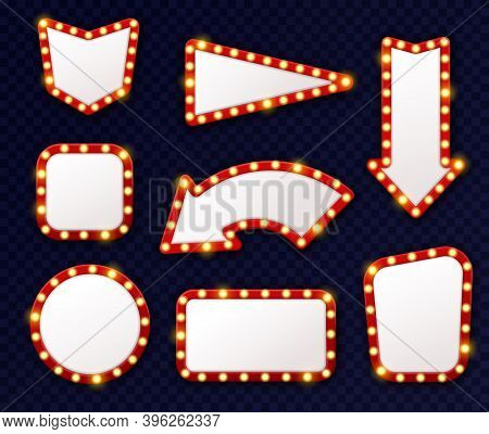 Vintage Light Arrows Pointers. Shining Retro Design Signs With Bulbs Around Frames, Vintage Show Lig